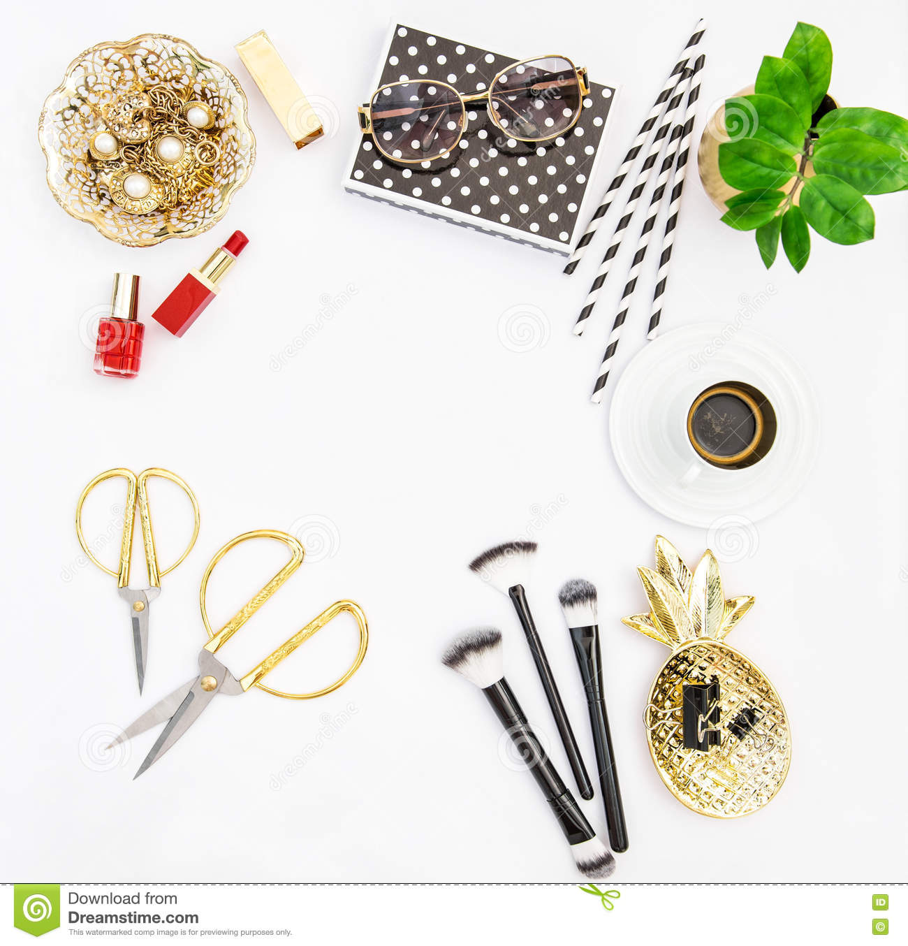 fashion accessories cosmetics coffee flat lay social media stock image feminine office