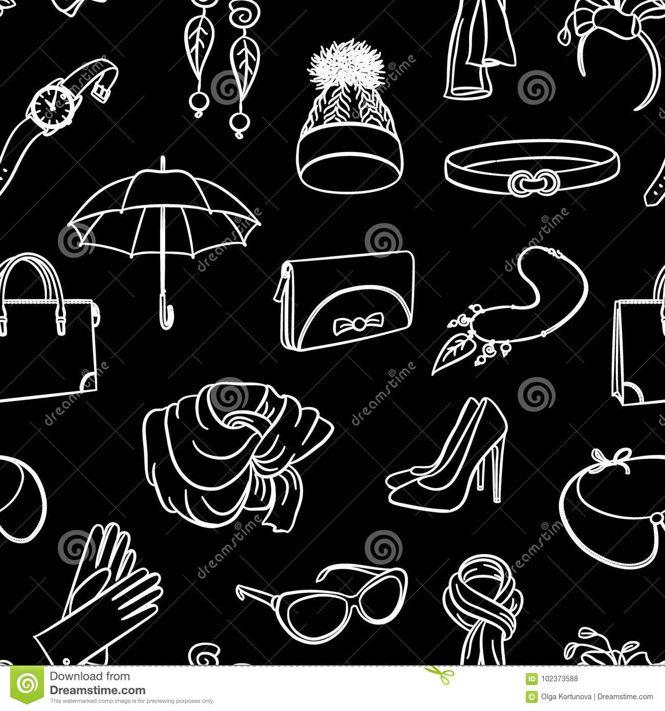 ac9c3c0d9 Fashion Accessories Seamless Pattern. Hand Drawing White Lines On A ...