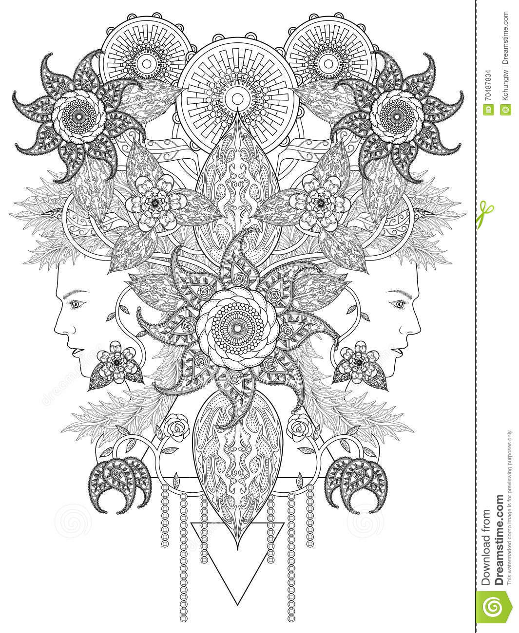 fashion coloring page stock illustration image 70487834