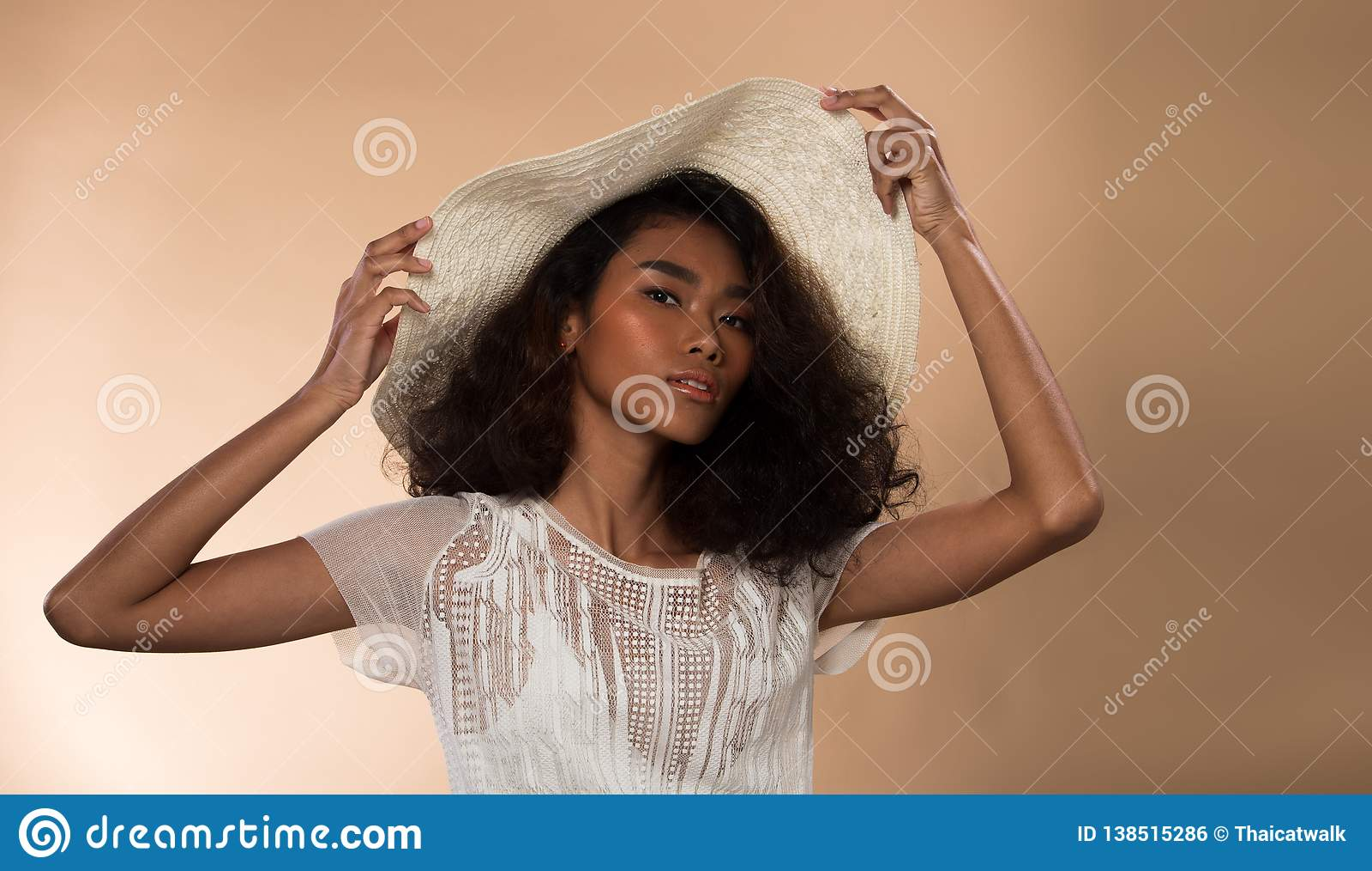 199292700 Fashion Asian Woman Tan Skin Black Hair Eyes Stock Photo - Image of ...
