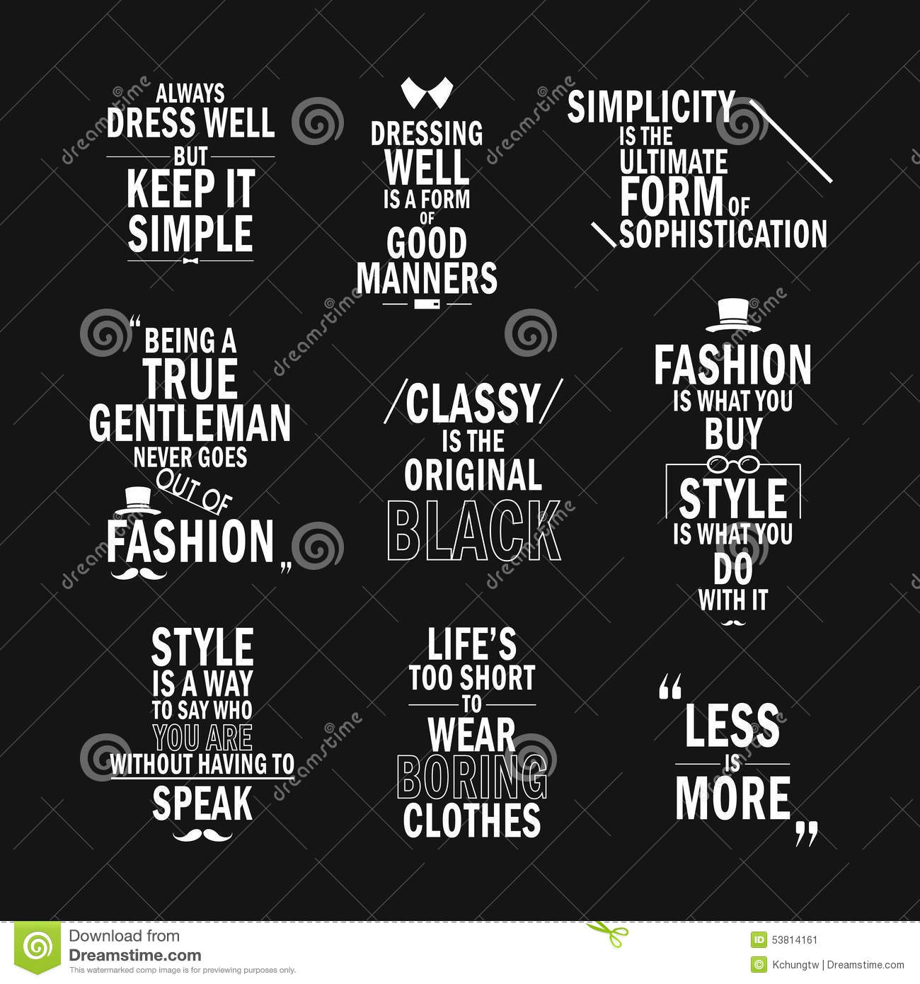 Fashion Attitude Quotes Set Stock Vector Illustration Of Pack
