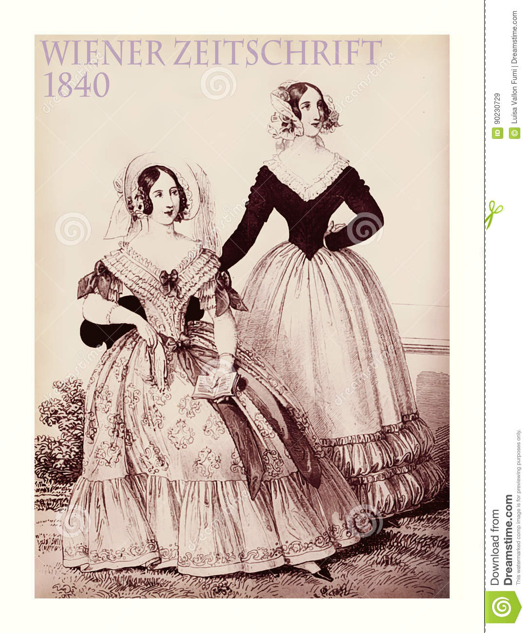 1840 fashion austrian magazine wiener zeitschrift two ladies stock illustration image 90230729. Black Bedroom Furniture Sets. Home Design Ideas