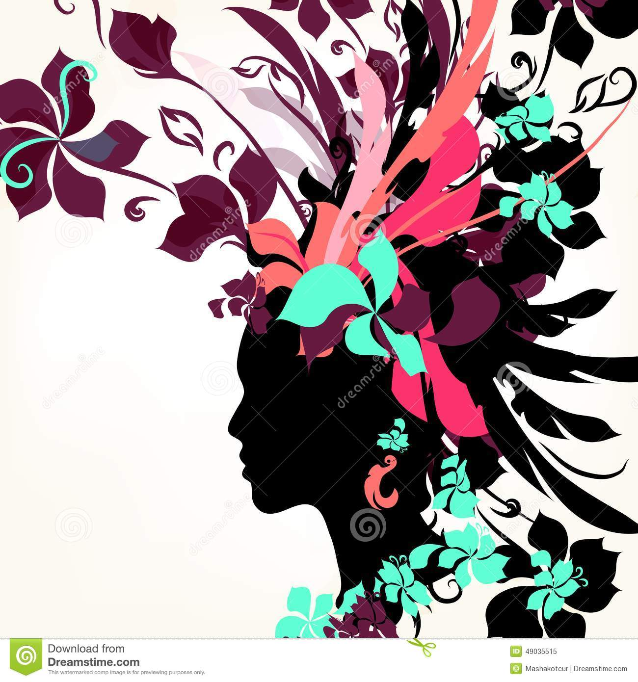 Fashion Background With Female Face And Floral Hair Stock