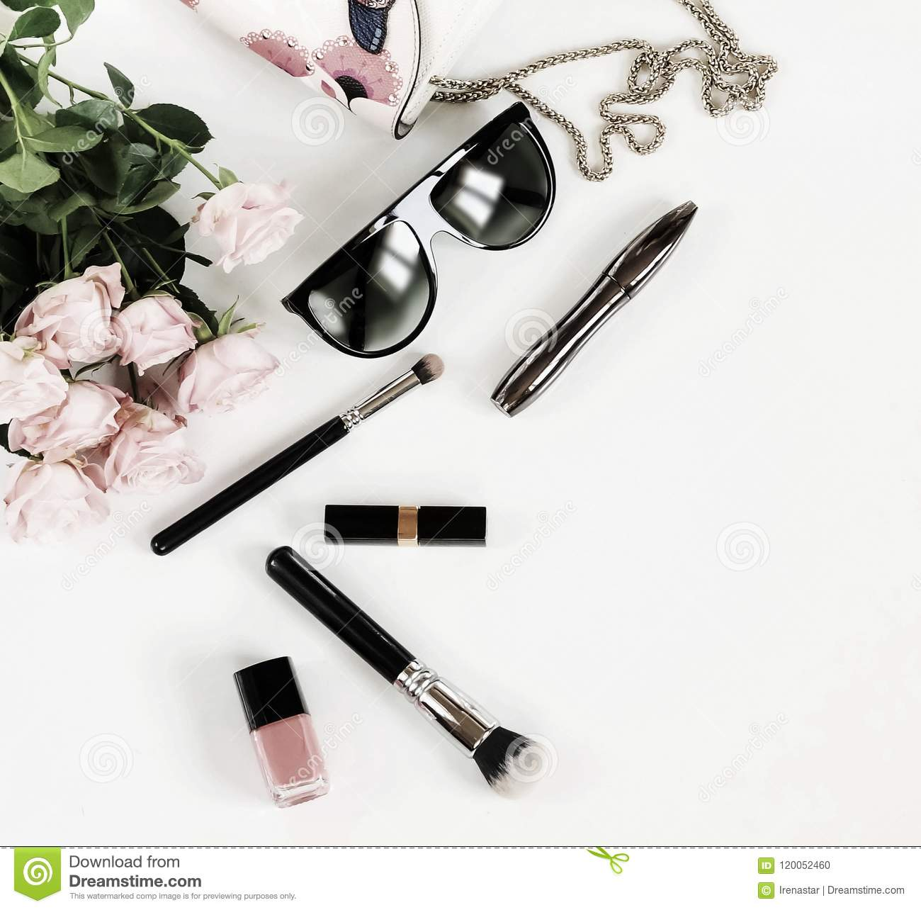 Fashion background. Female fashionable stylish accessories .Bouwuet of pale pink roses