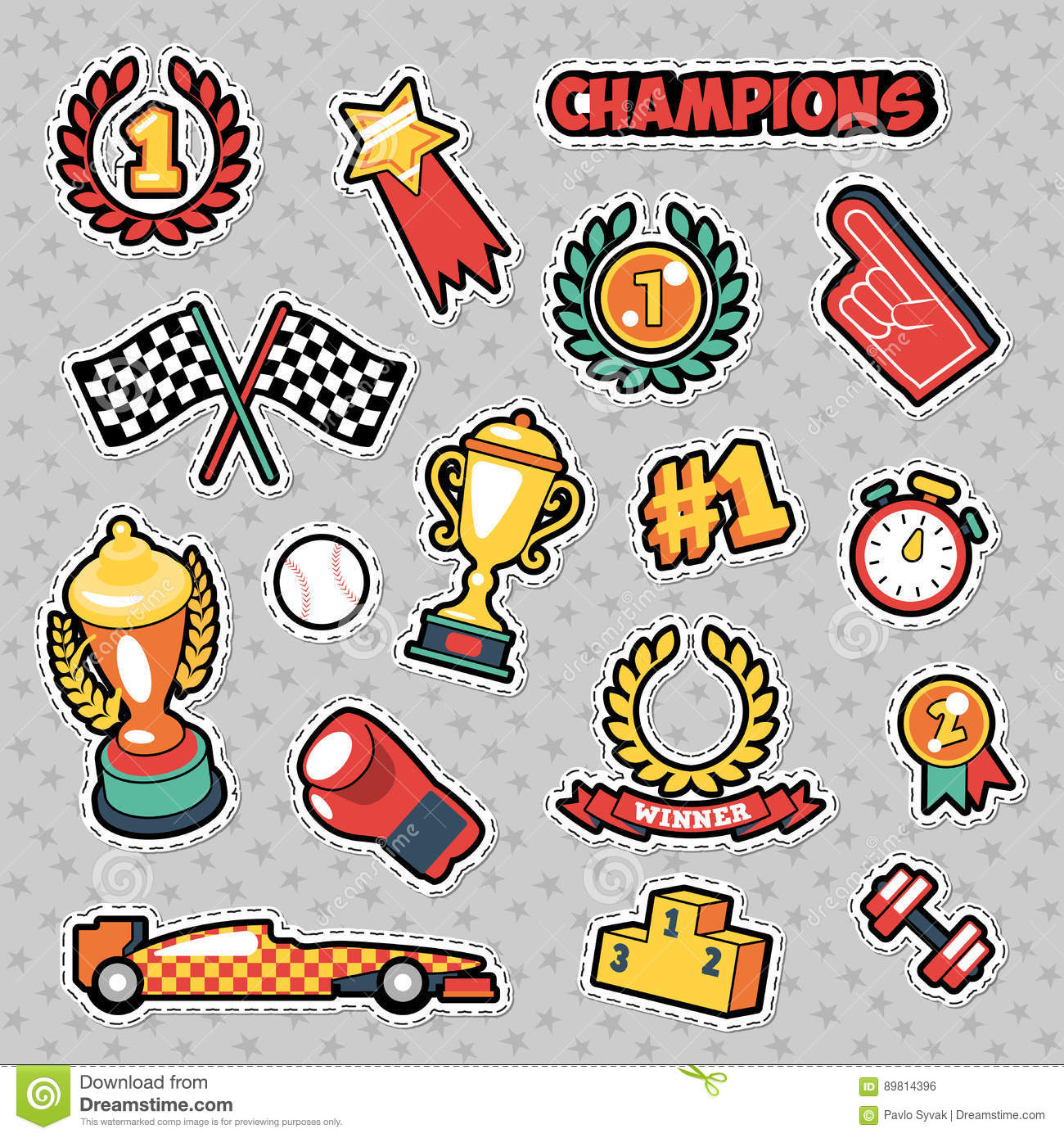 fashion badges patches stickers in comic style champions theme