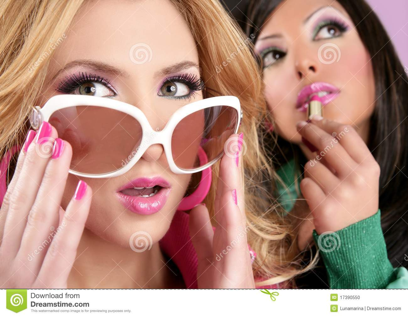 Fashion Barbie Doll Style Girls Pink Lipstip Stock Photo Image Of Naive Girl 17390550