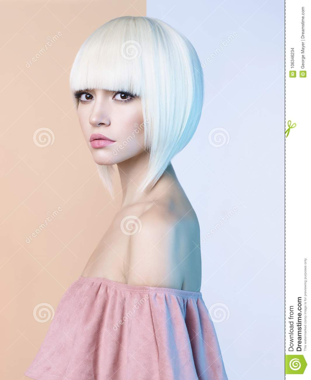 Fashion Beautiful Blonde With Short Haircut Stock Photo Image Of