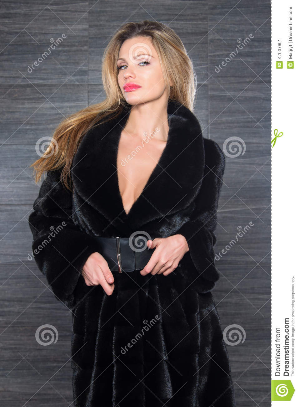 Fur coat blonde in Beautiful