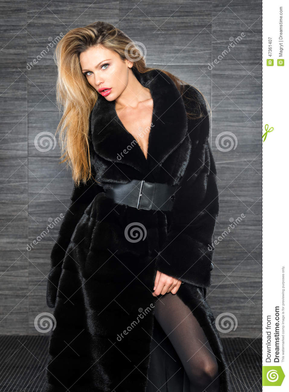in fur blonde coat Beautiful