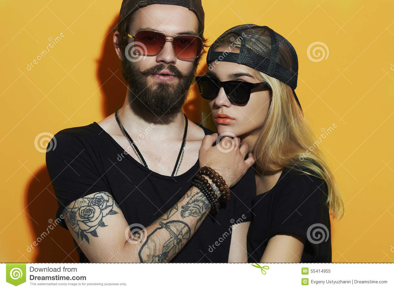 Download Fashion Beautiful Couple Together. Tattoo Hipster Boy And Girl Stock Image - Image of hair, beard: 55414955