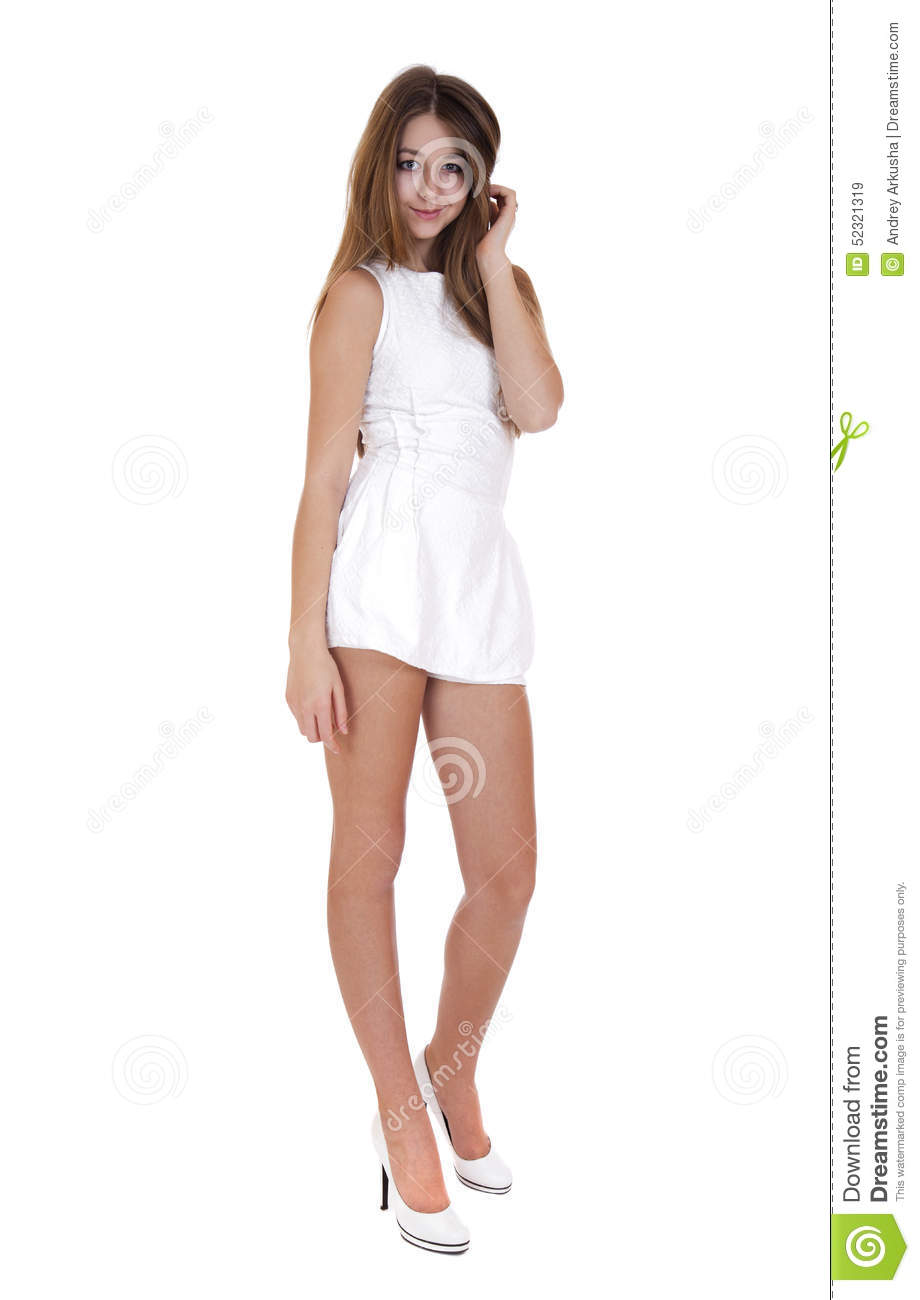 fashion beautiful girl with modern white dress posing in