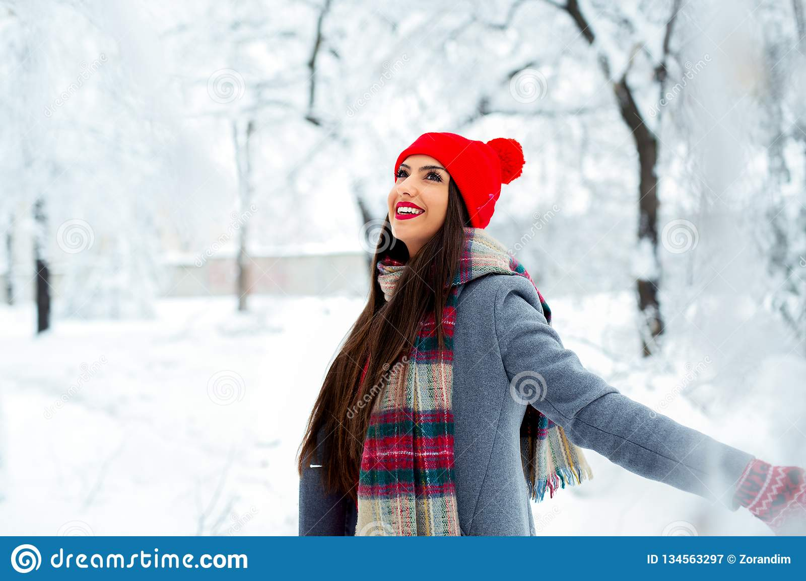 Fashion young woman in the winter time - Image