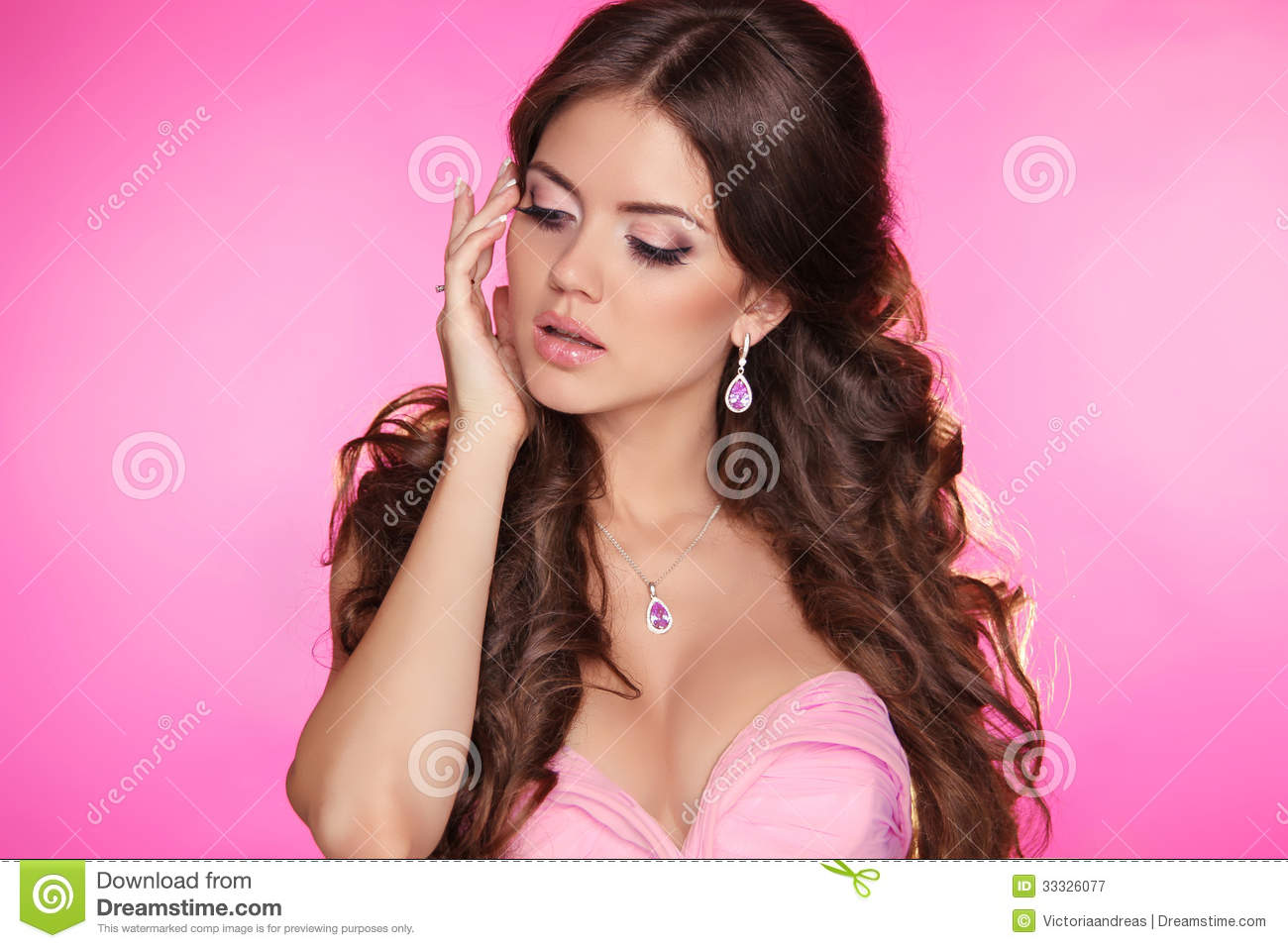 Fashion Beauty Girl Isolated On Pink Background Gorgeous Woman