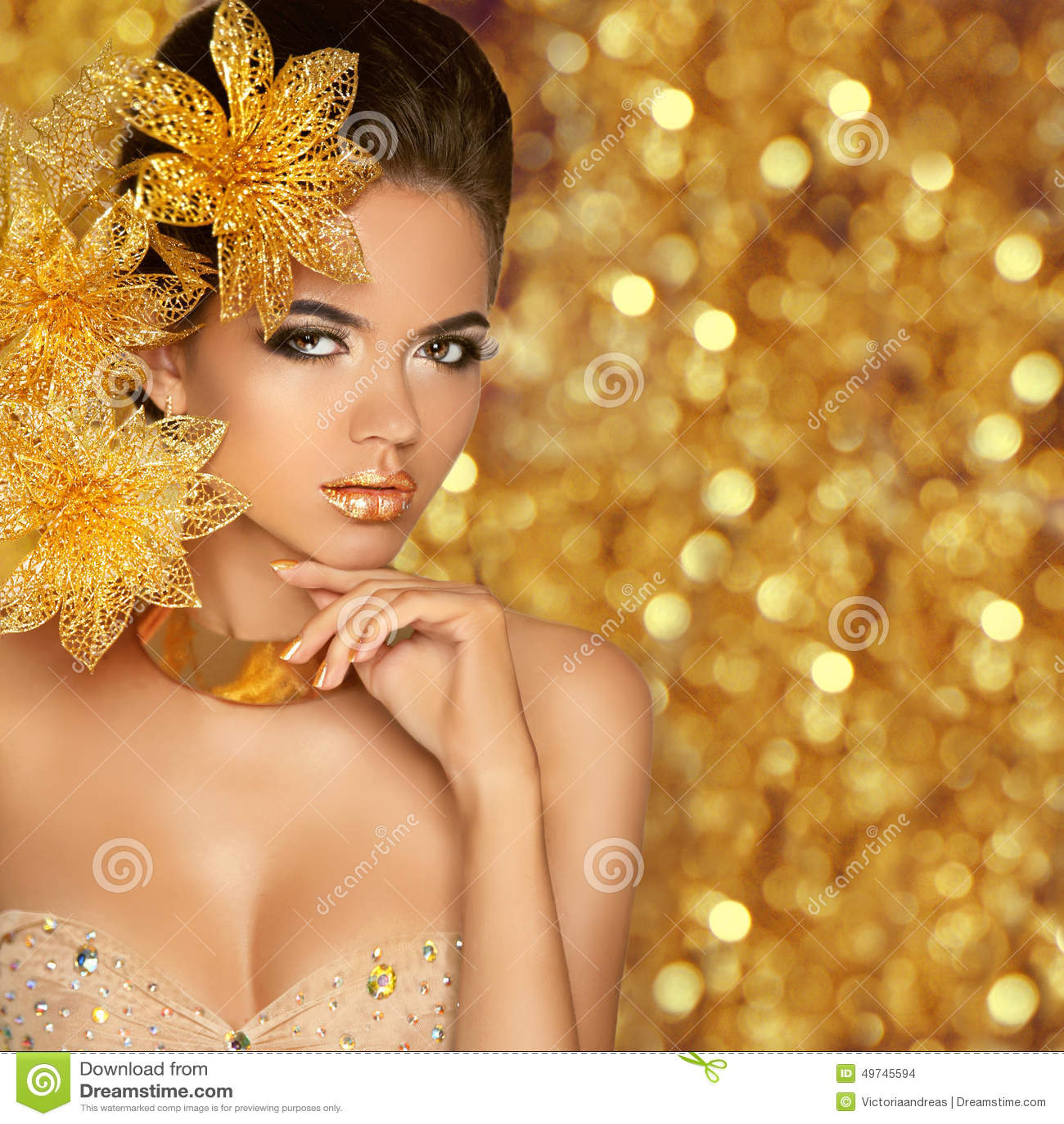 Beauty Girl Portrait Isolated on golden Christmas glittering lights ...