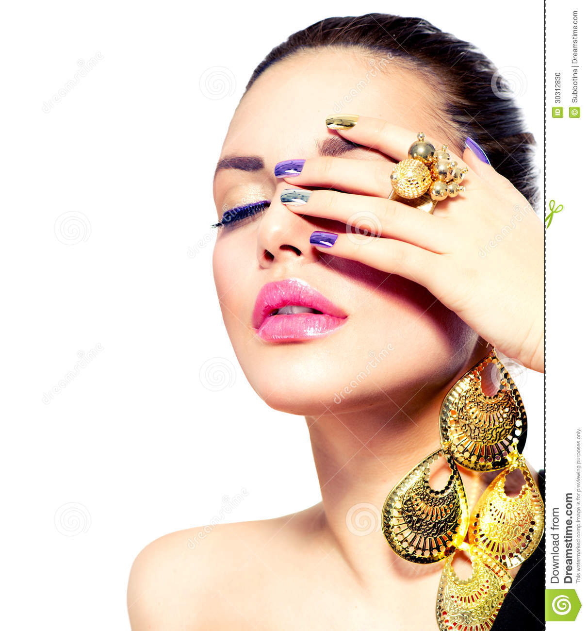 Beauty Makeup And Manicure Stock Photo