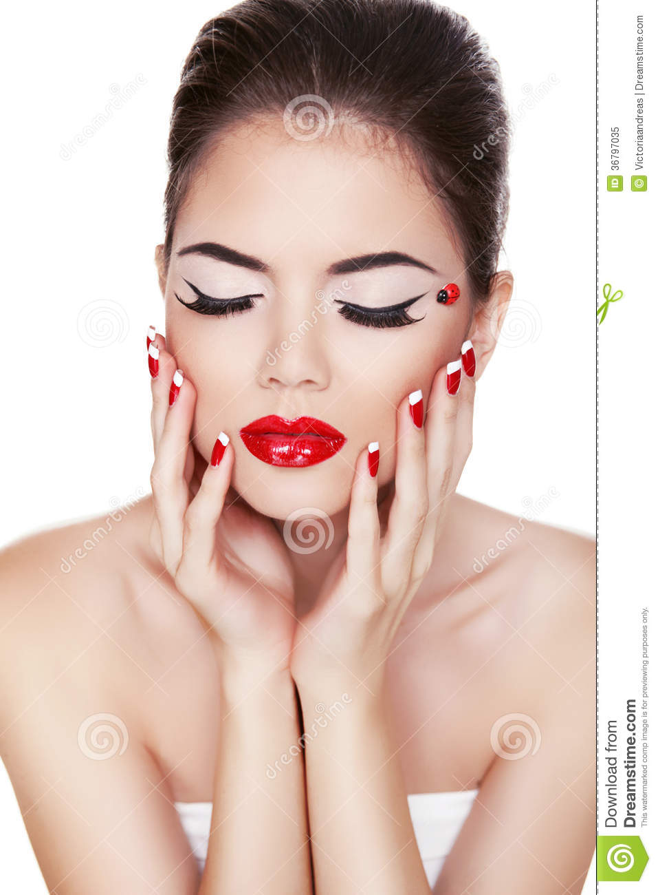 Luxury Brunette Woman With Red Lips Make Up Eyeliner Clean Skin Royalty Free Stock Photo