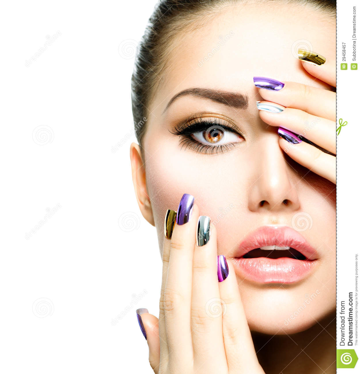 Fashion Beauty. Manicure And Makeup Royalty Free Stock ...