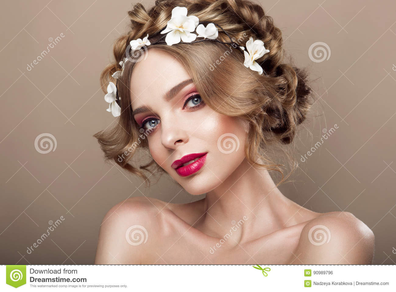 Fashion Beauty Model Girl With Flowers Hair Bride Perfect Creative