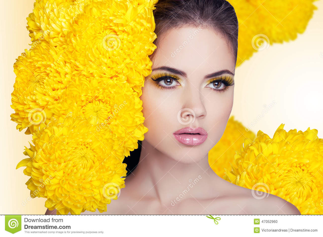 Fashion Beauty Model Girl With Flowers Hair. Makeup And