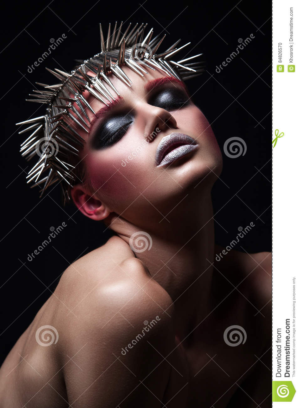 Fashion Beauty Model With Metallic Headwear And Shiny Silver Red