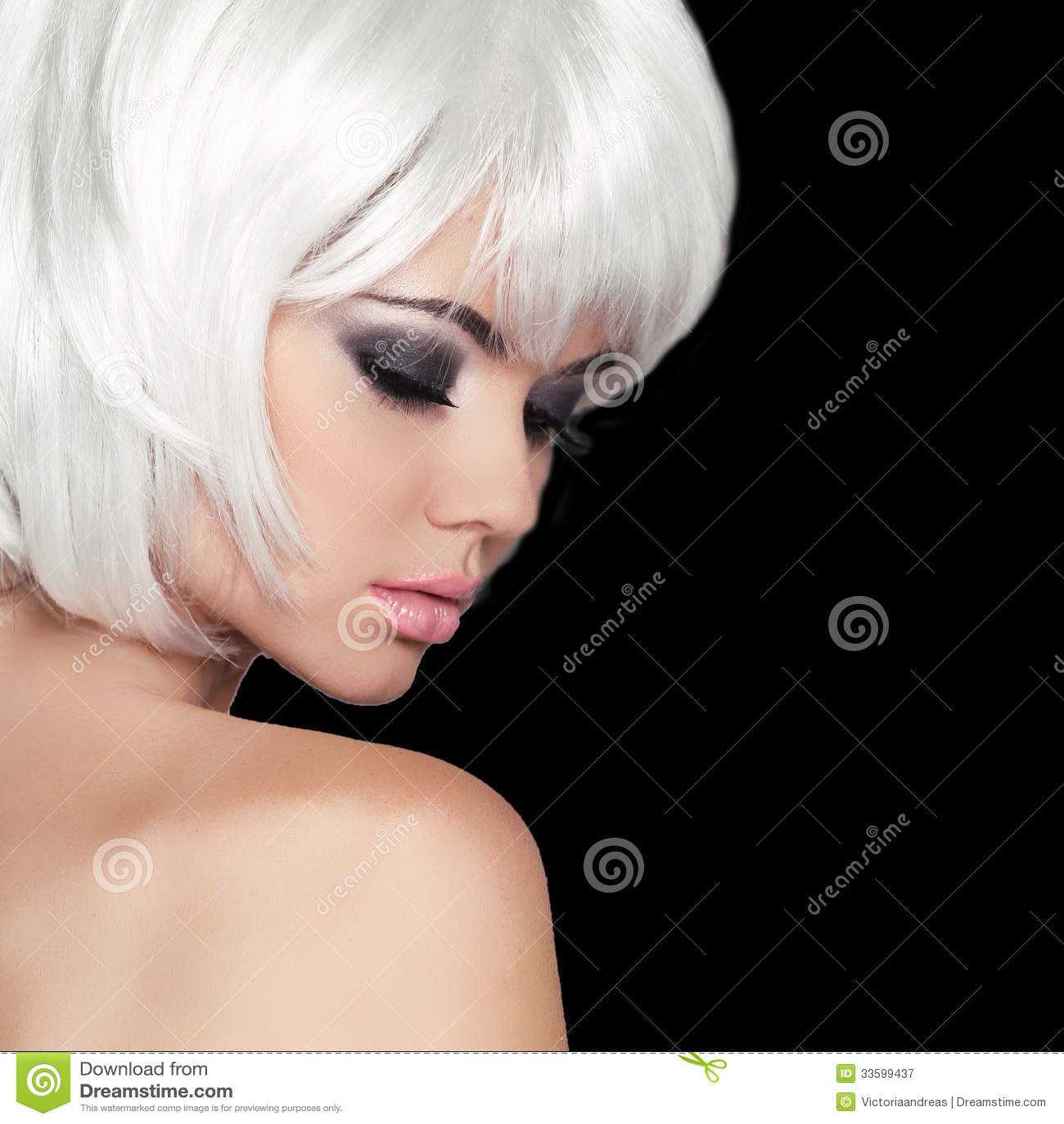 Fashion Beauty Portrait Woman White Short Hair Isolated Bla Stock Image