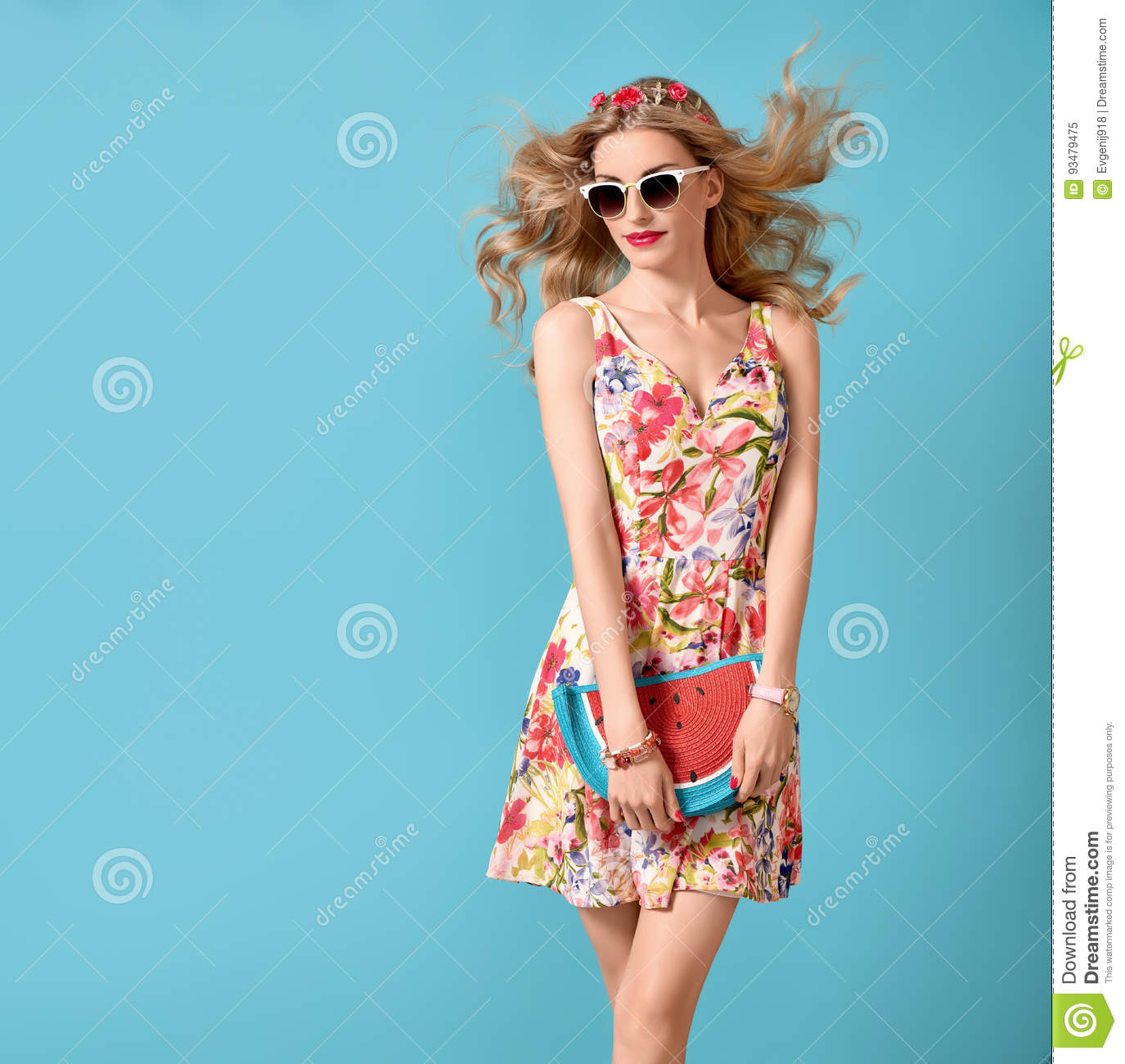 145a9b00e Fashion Beauty woman in Summer Outfit. Sensual Blond Model in fashion pose.  Trendy Floral summer Dress