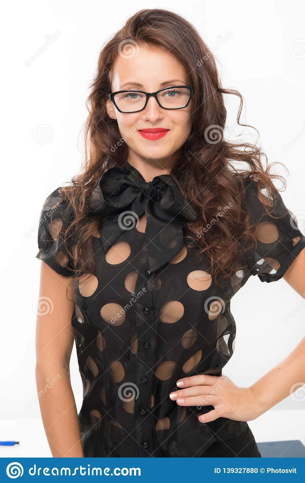 Fashion and beauty. businesswoman. Pretty school teacher or student. Back to school. Girl with red lips in glasses