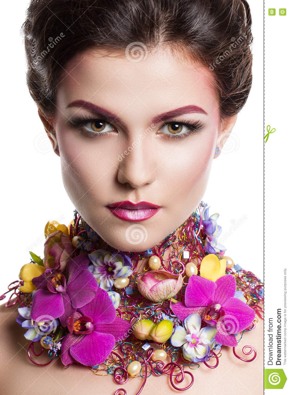 Fashion Beauty Woman With Flowers In Her Hair And Around Her Neck Perfect Creative Make Up And