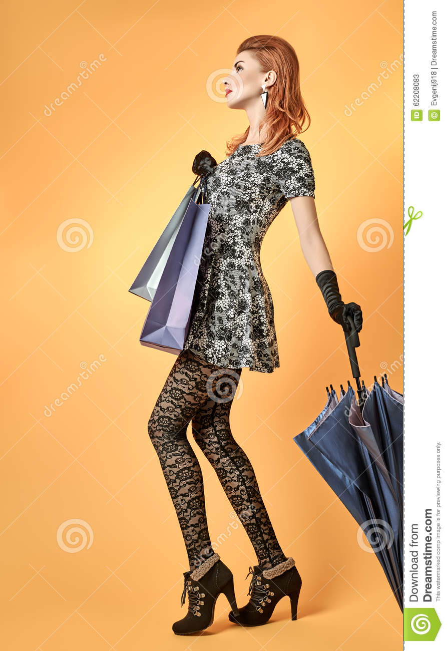 Fashion Beauty Woman Holding Shopping Bags Vintage Stock Photo Image 62208083