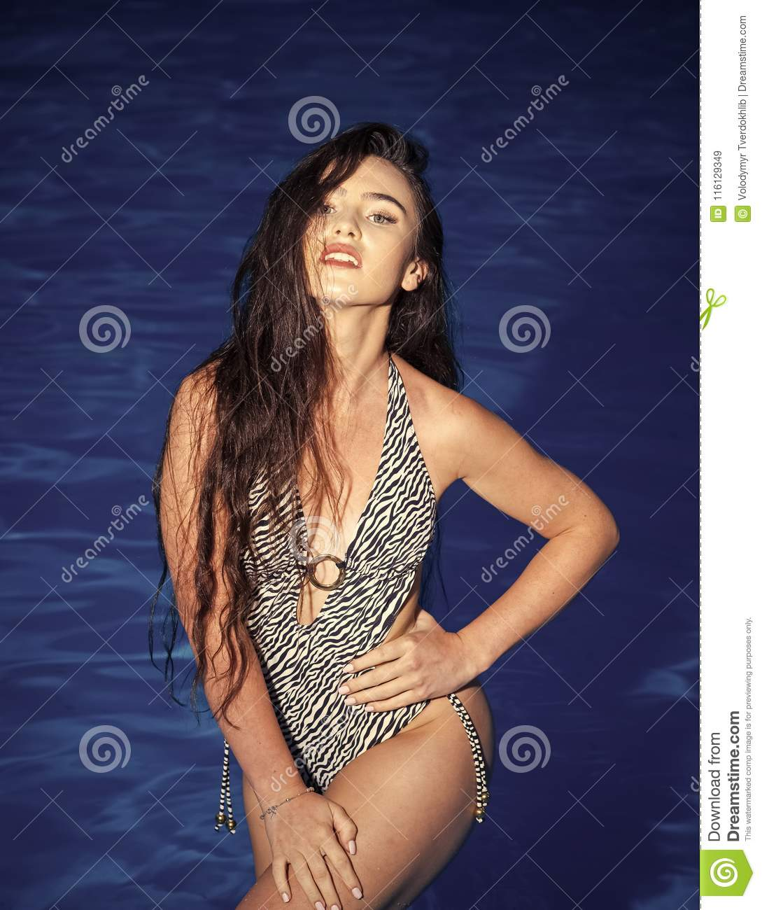 Fashion and beauty of woman with natural makeup and hair. woman on sea in swimsuit. Maldives or Miami beach, diet. Summer vacation and travel to ocean, ...