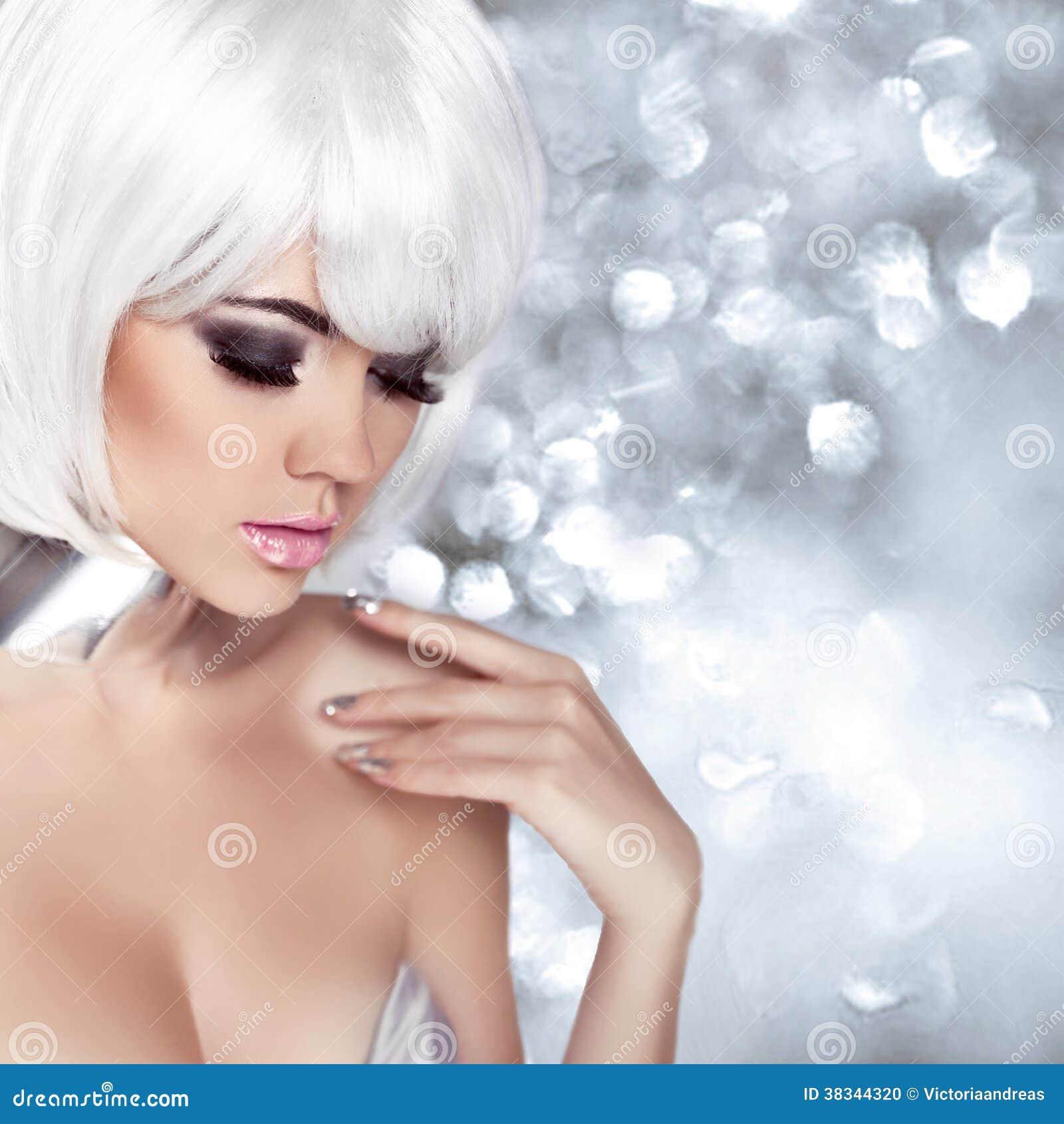 Fashion Blond Girl Beauty Portrait Woman Makeup White Short H