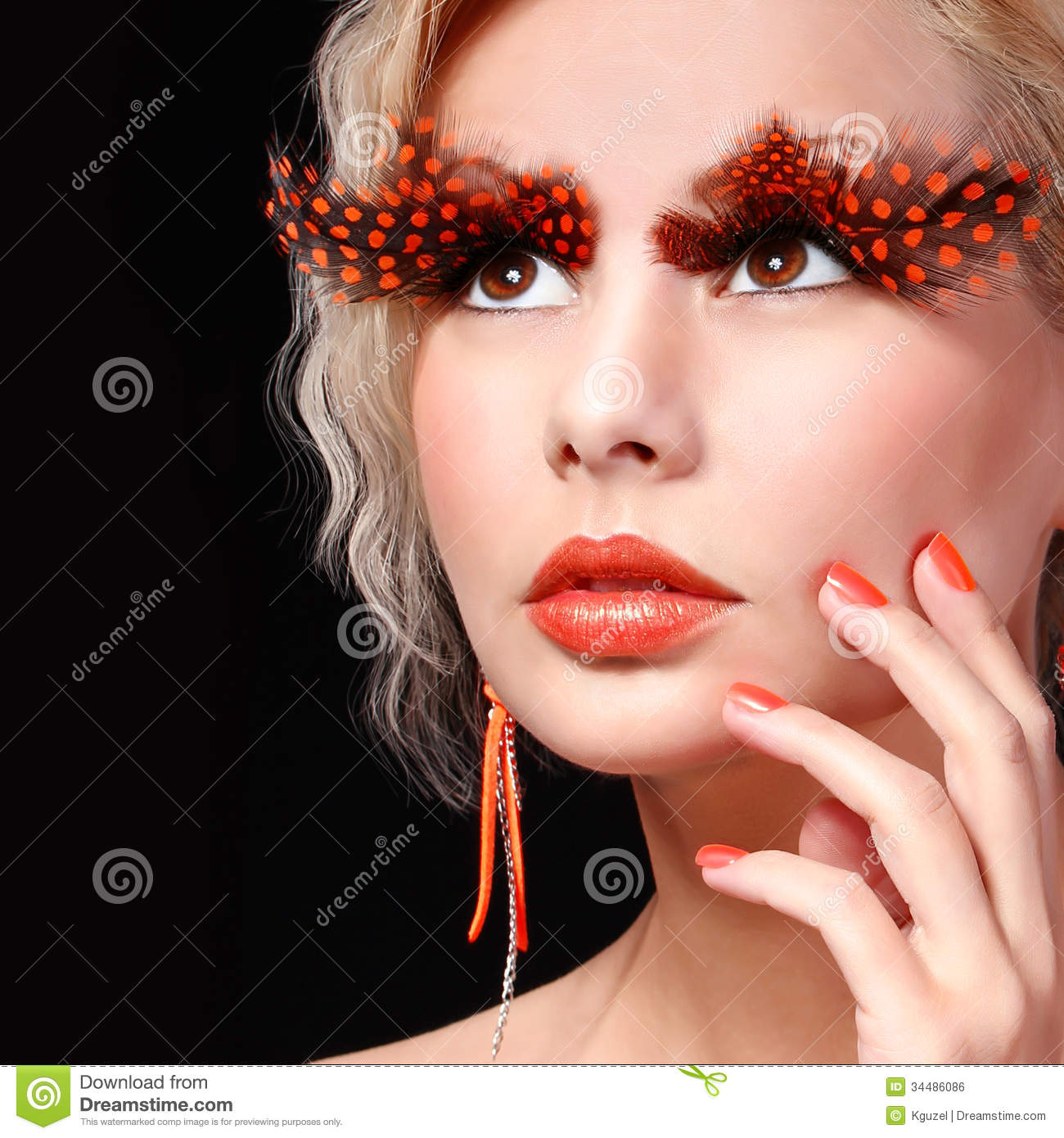 Fashion Blonde Model With Long Orange Eyelashes. Professional Makeup ...