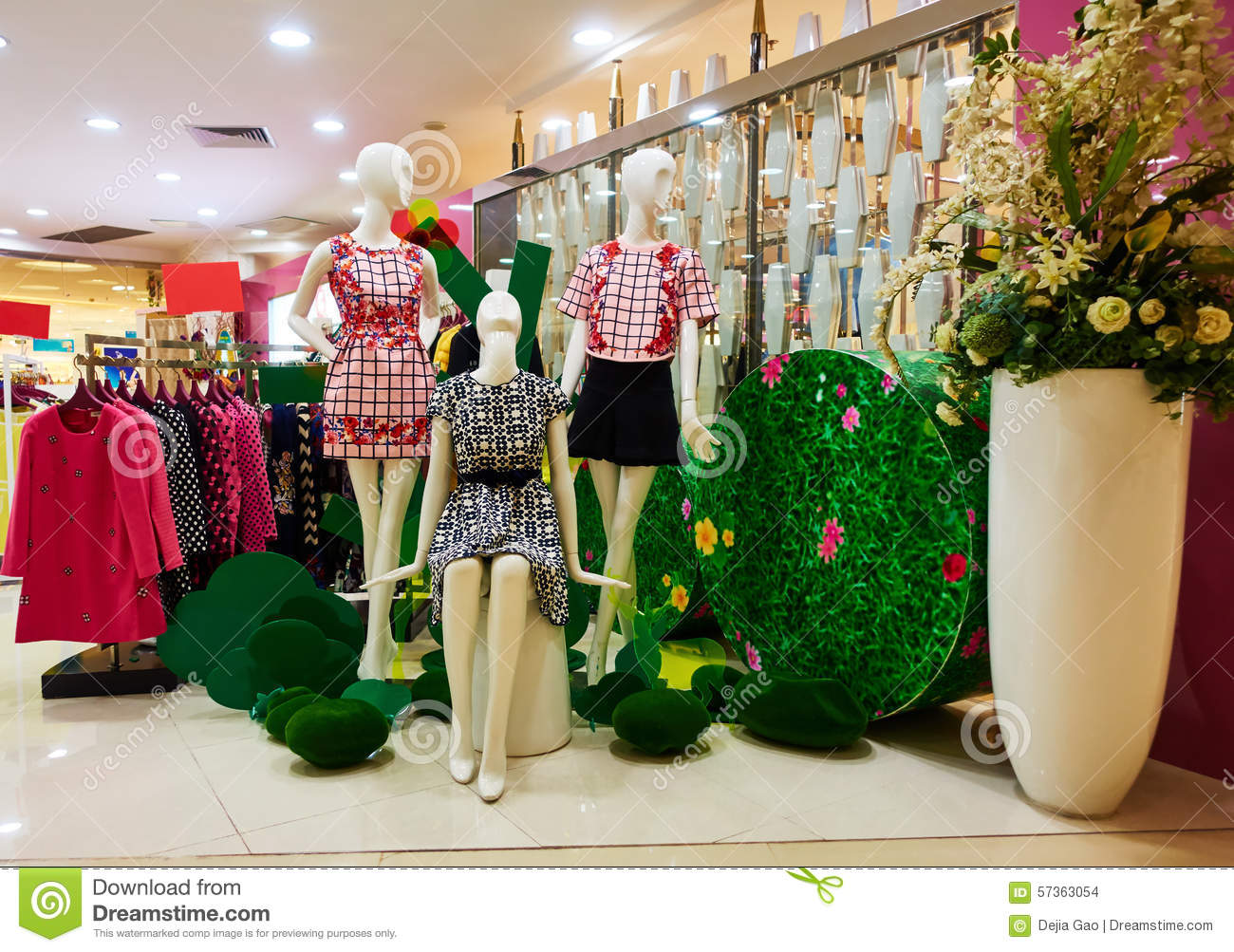 Fashion boutique clothing shop clothes store stock photo for Boutique decoration interieur