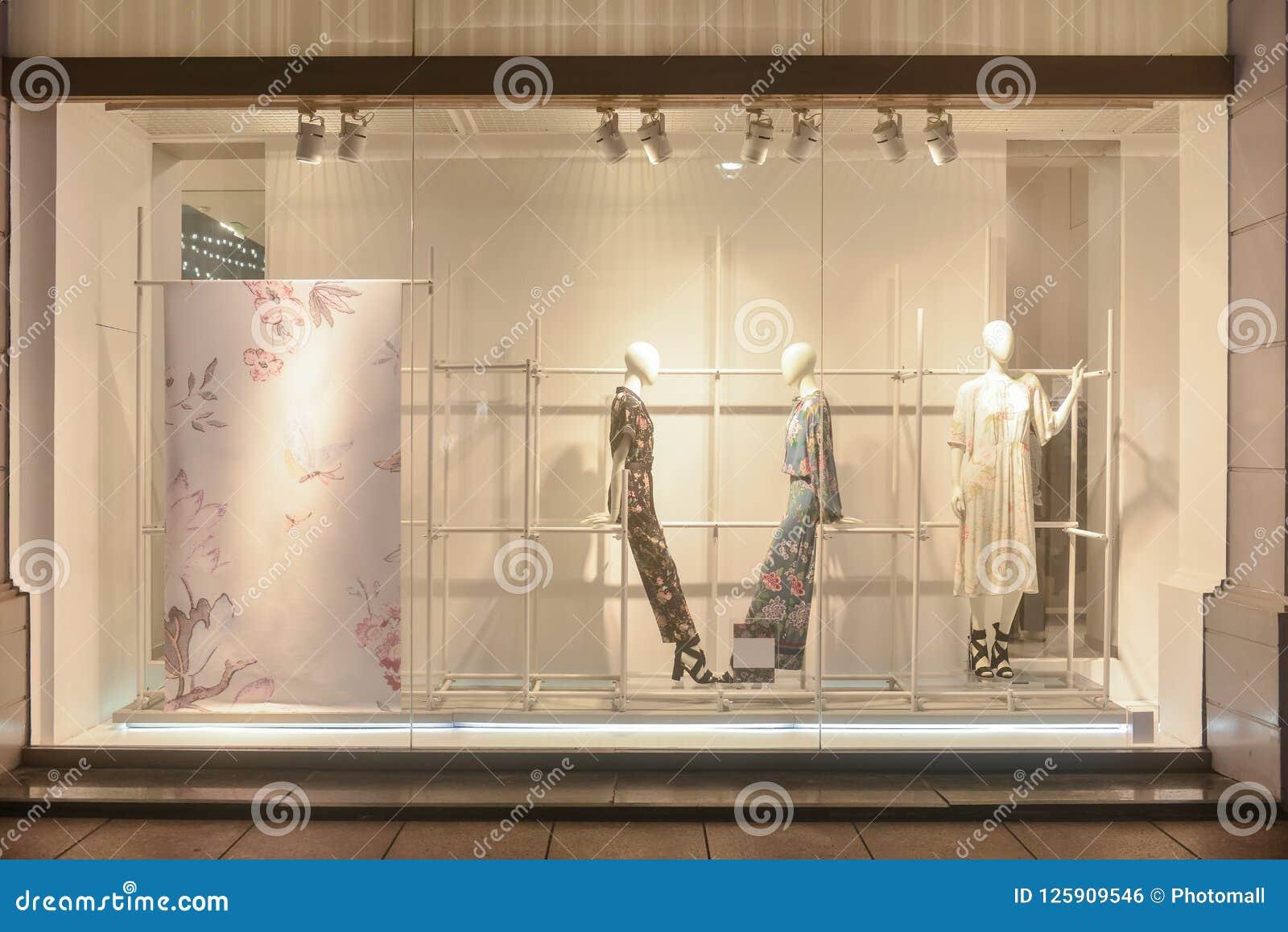 8d1d937c7ea43 Fashion Boutique Display Window Dress Shop Window Editorial Photo ...