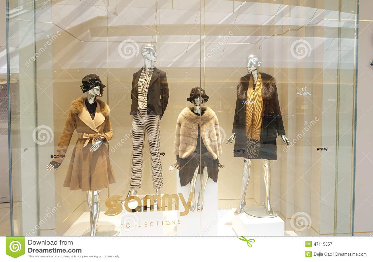 Of modern fashion boutique clothes shop window fashion clothing dress
