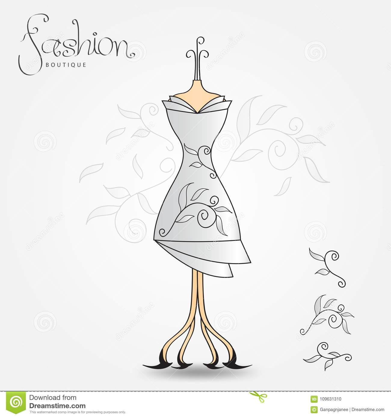 Fashion boutique, Evening dress, vintage icon vector illustration. Fabric pattern for clothes