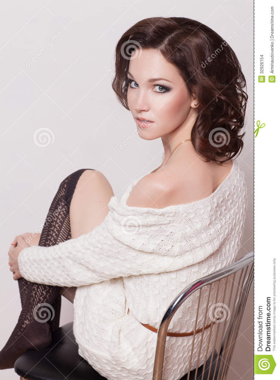 Fashion Brunette Woman With Brown Curly Hair Girl With