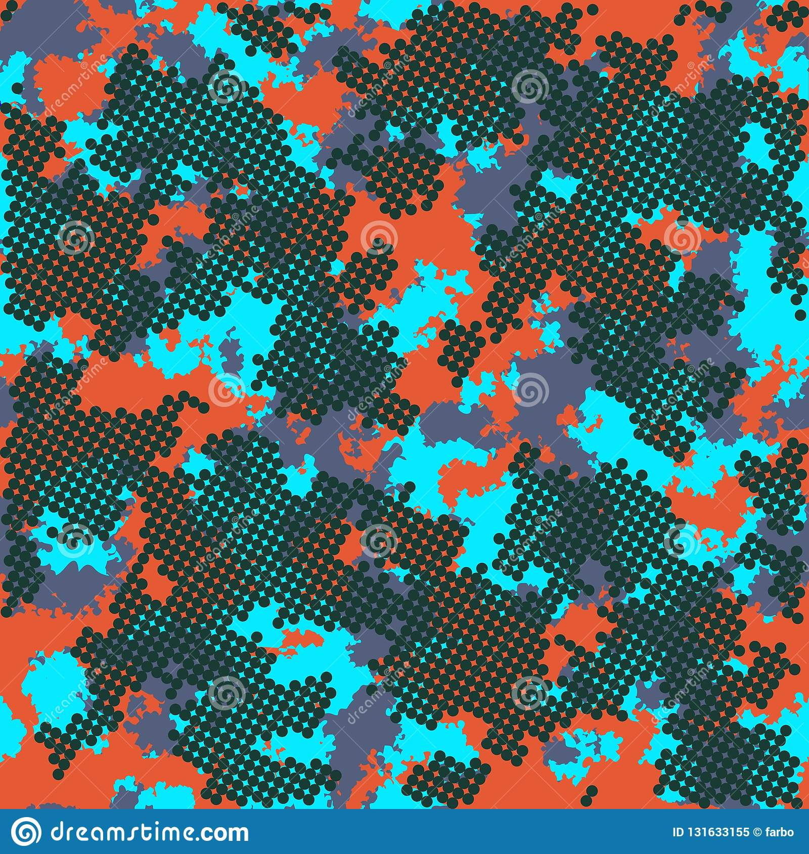 Fashion camo design. Color clouds seamless pattern vector. Trendy camouflage cloth pattern