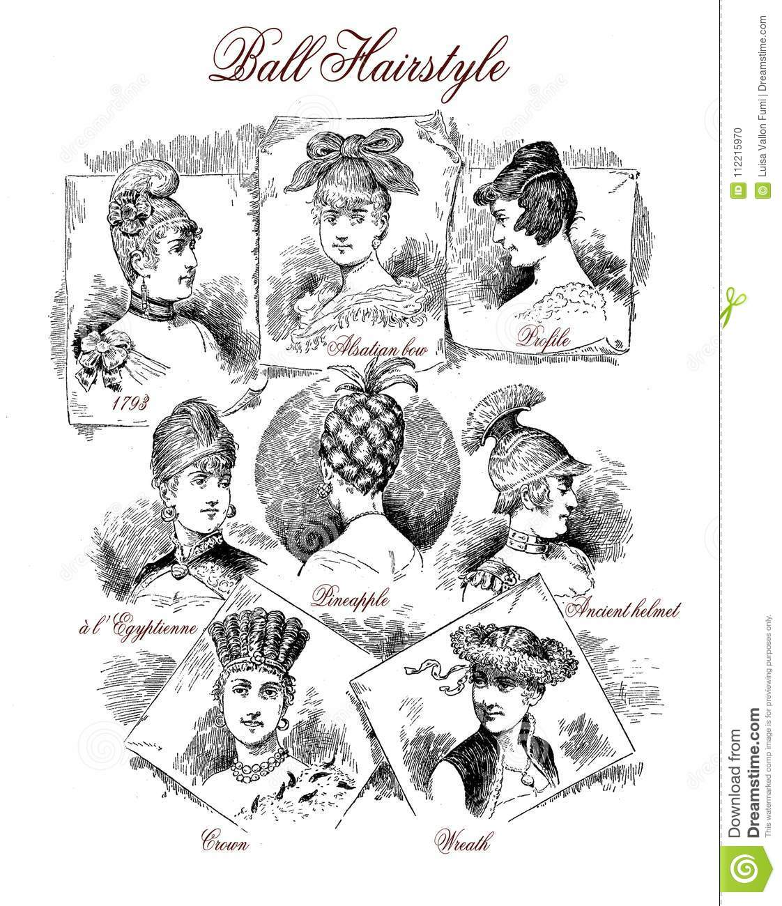 Vintage Fashion For Fun Fancy Ball Hairstyles Stock Illustration