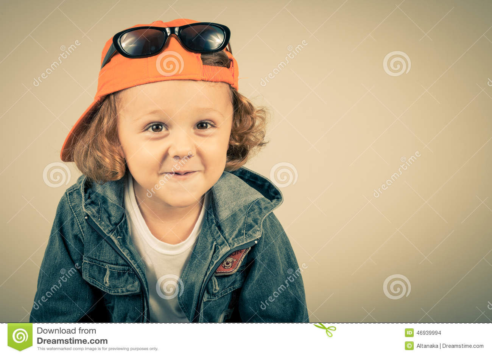 Fashion child. Happy boy model