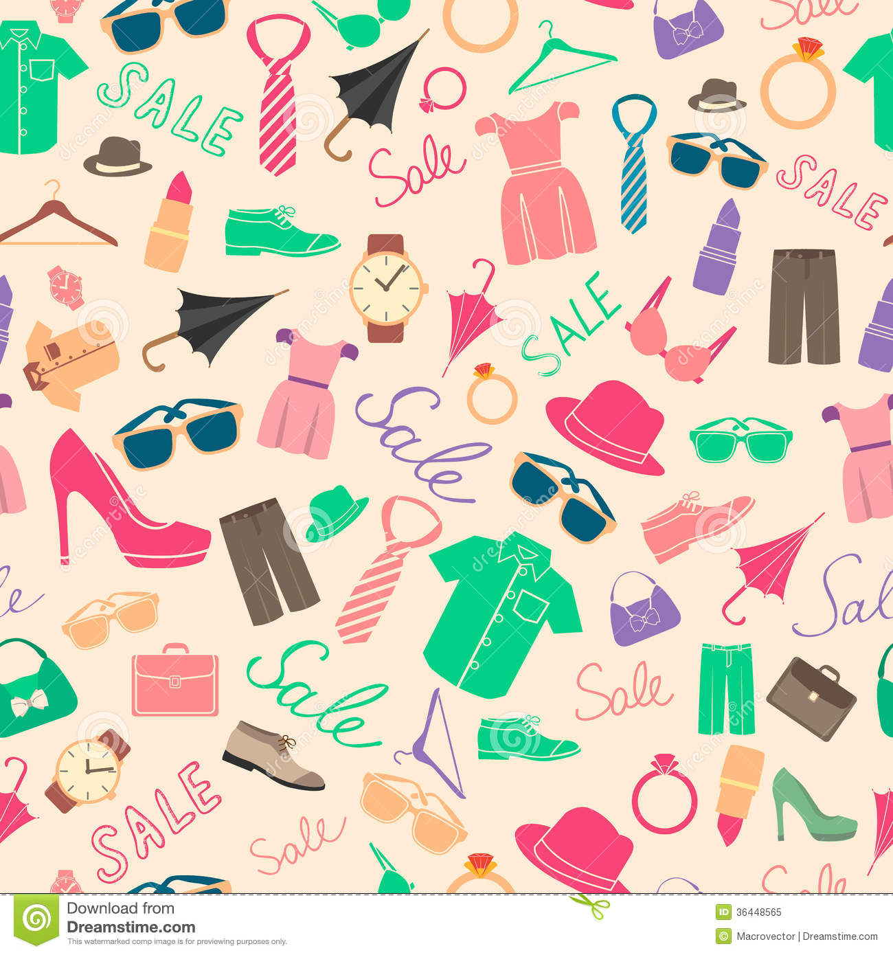 Fashion And Clothes Accessories Seamless Pattern Royalty ...