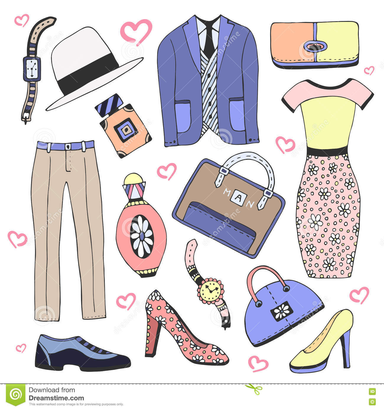 Set Icon Of Men And Women Fashion Clothing And Accessories Cartoon Vector