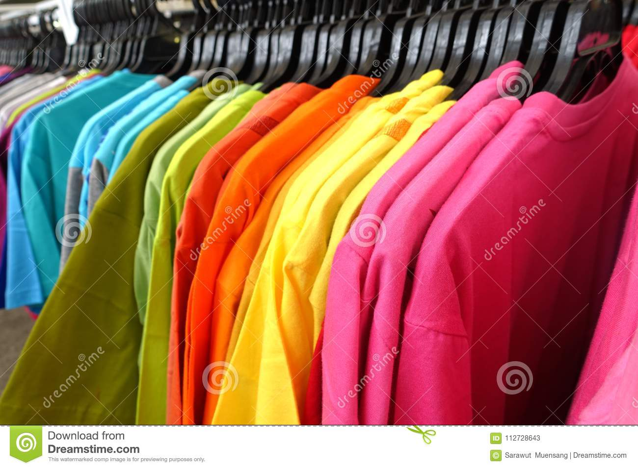 Fashion Clothes On Clothing Rack   Bright Colorful Closet. Close Up Of  Rainbow Color