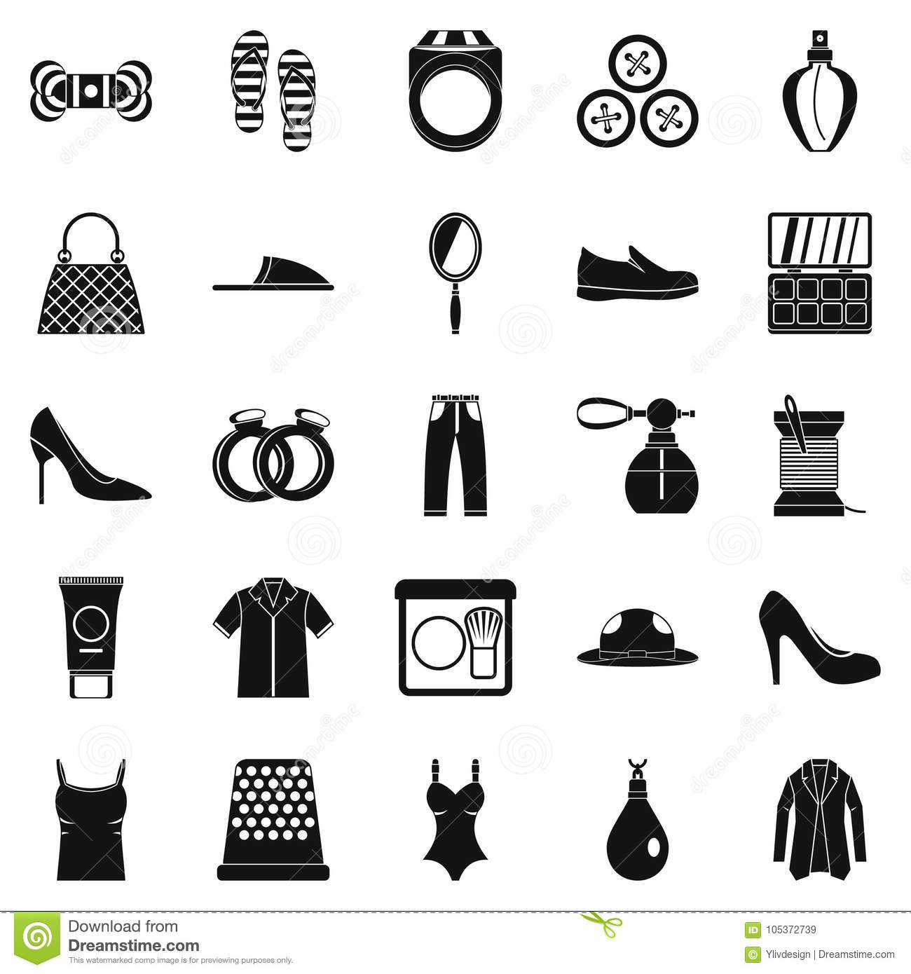 Fashion Clothes Icons Set Simple Style Stock Vector Illustration 105372739