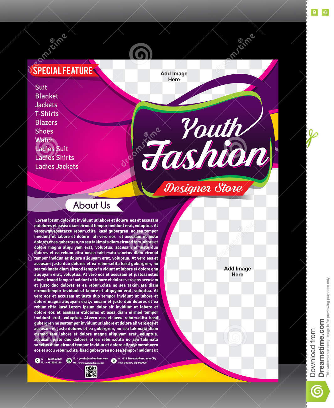 Fashion Clothes Shop Flyer u0026 Poster Design Template Stock ...