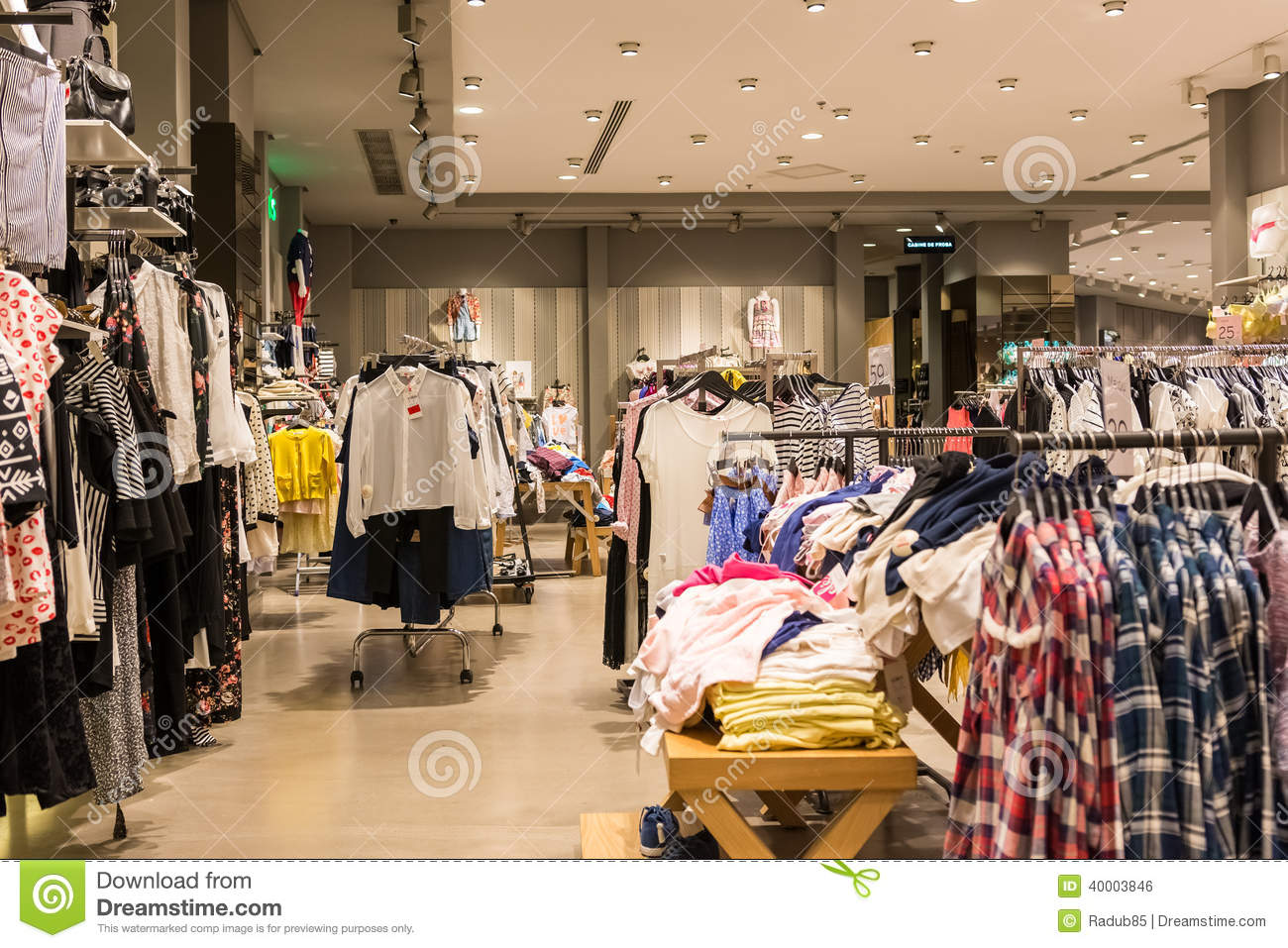 BUCHAREST, ROMANIA - APRIL 20: Fashion Clothes Store In Shopping Mall