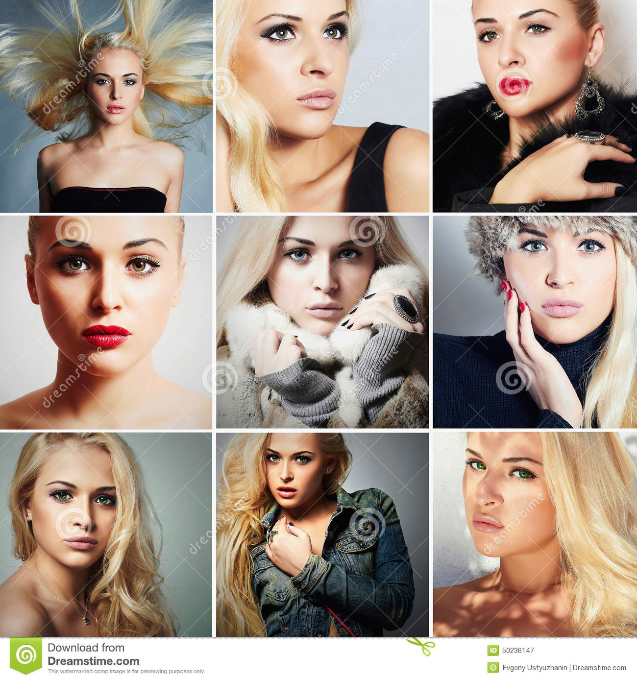 Fashion Collage.Group Of Beautiful Young Blond Women