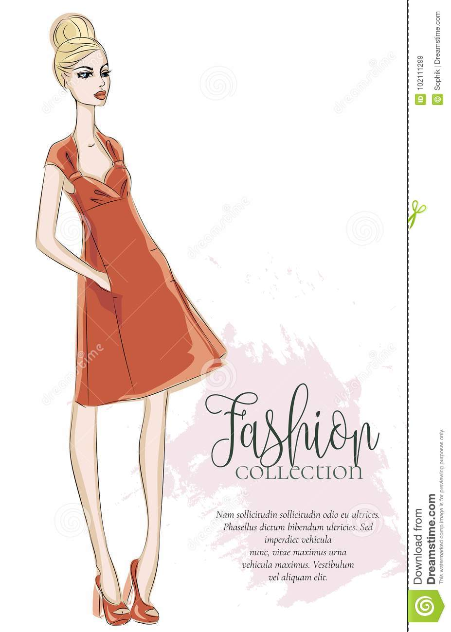 Fashion Collection Advertising Brochure With Trendy Girl In Sketch