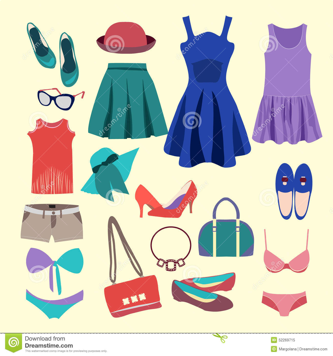 Fashion Collection Of Summer Clothes Stock Vector - Image: 52269715