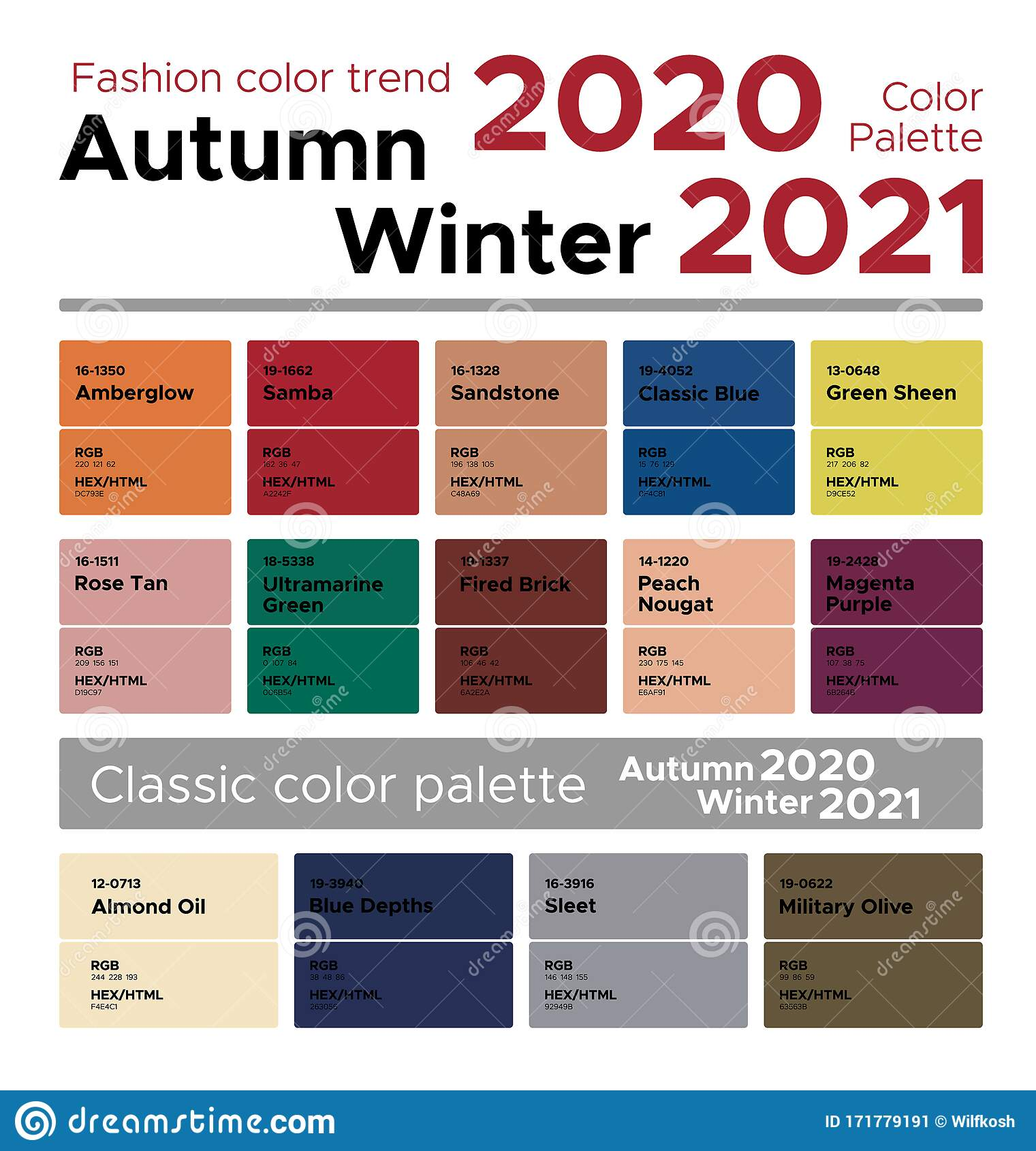 Fashion Color Trend Autumn Winter 2020 2021 Palette Fashion Colors Guide With Named Color Swatches Editorial Photo Illustration Of Fall Colors 171779191